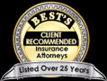 25-year listee in Best's Directory of Insurance Attorneys